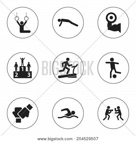 Set Of 9 Editable Active Icons. Includes Symbols Such As Racetrack Training, Physical Education, Training Pool And More