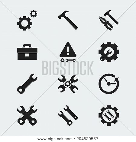 Set Of 12 Editable Repair Icons. Includes Symbols Such As Wrench Repair, Spanner, Wrench And More