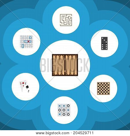 Flat Icon Play Set Of Dice, Chess Table, Sea Fight And Other Vector Objects