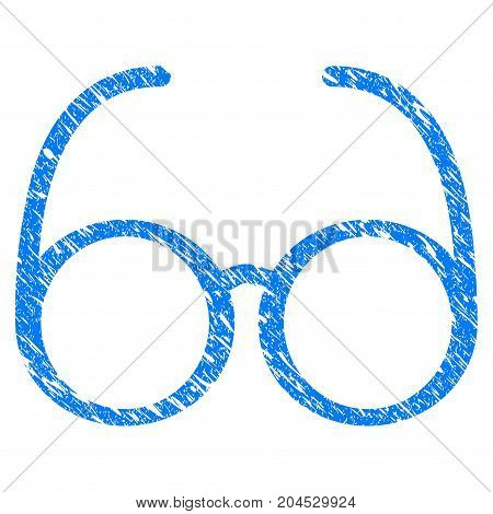 Grunge Spectacles icon with grunge design and scratched texture. Unclean vector blue pictogram for rubber seal stamp imitations and watermarks. Draft sign symbol.