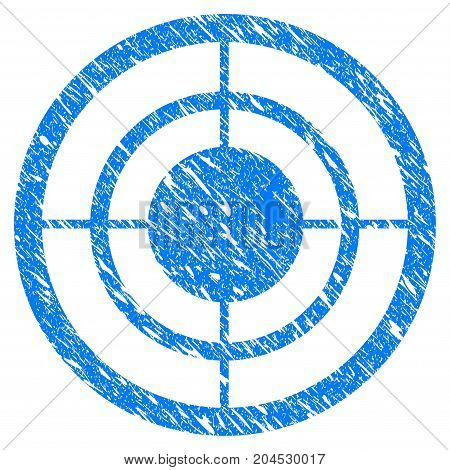 Grunge Target icon with grunge design and scratched texture. Unclean vector blue pictogram for rubber seal stamp imitations and watermarks. Draft sticker symbol.