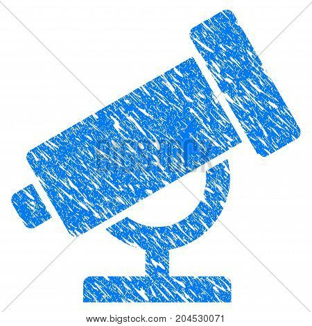 Grunge Telescope icon with grunge design and dirty texture. Unclean vector blue pictogram for rubber seal stamp imitations and watermarks. Draft sticker symbol.