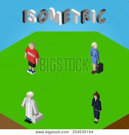 Isometric Person Set Of Businesswoman, Medic, Hostess And Other Vector Objects
