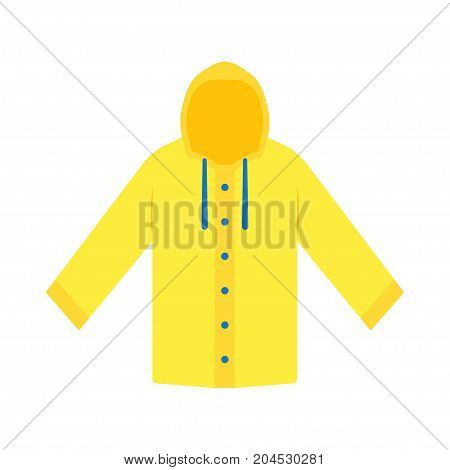 Yellow raincoat waterproof clothes. Flat design of rain coat clothing vector illustration