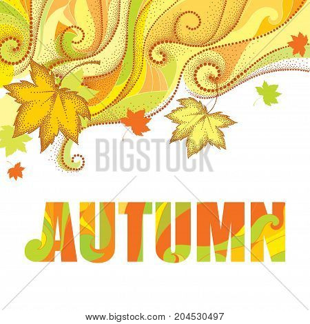 Abstract autumn background with dotted maple leaves, dotted swirls, waves and the word Autumn isolated on white. Vector autumn elements in dotwork style for design. Concept with falling maple leaves.