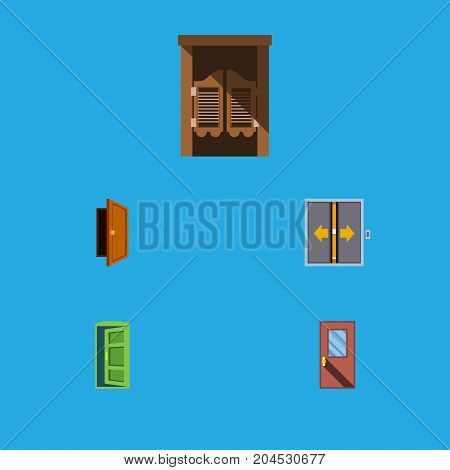 Flat Icon Door Set Of Door, Saloon, Entry And Other Vector Objects