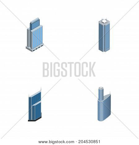 Isometric Skyscraper Set Of Building, Skyscraper, Residential And Other Vector Objects