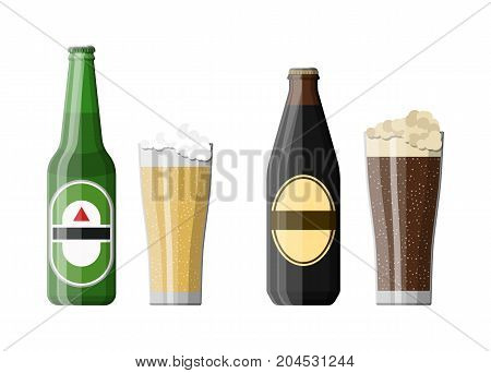 Bottle of dark stout and light beer with glass. Beer alcohol drink. Vector illustration in flat style