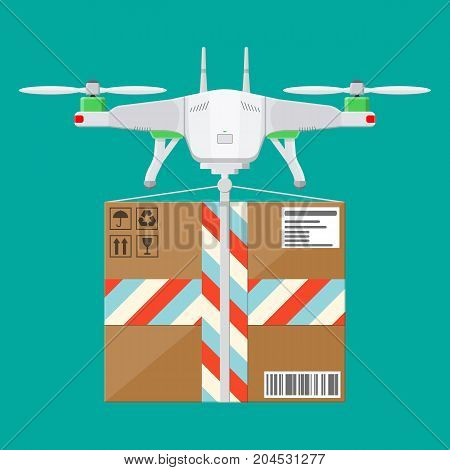 Remote controlled aerial drone. Quadcopter drone with box. Contemporary unmanned aircraft. Fast delivery and shipping. Vector illustration in flat style