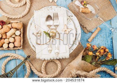 Tableware And Silverware With Decorations