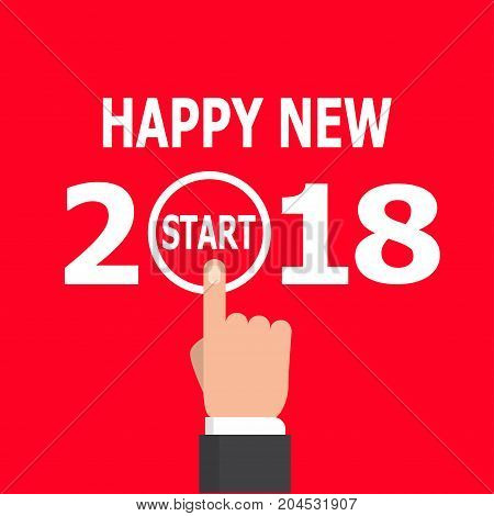 Happy new year conceptual greeting card, vector illustration on red background. 2018 happy new year. New year 2017 card design. Start new year 2018 idea.