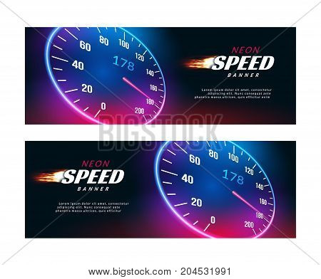 Banner speed car. Speedometer fast action poster or flyer design.