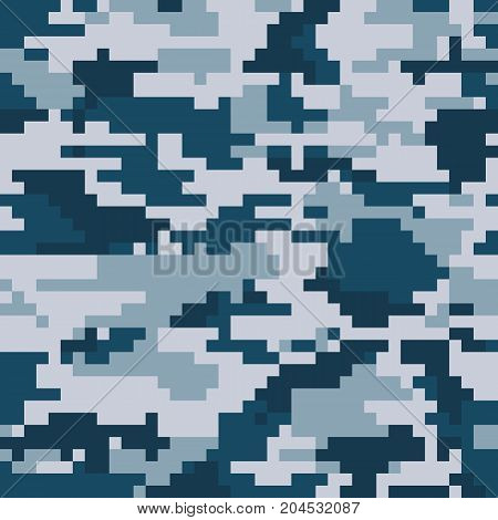 Digital pixel camouflage seamless pattern. Vector Texture in winter colour