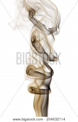 Golden black smoke isolated on white background