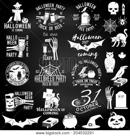 Set of Halloween party concept on the chalkboard. Halloween party retro templates, badges, seals, patches with design elements. Concept for shirt or logo, print, stamp. Typography design- stock vector.