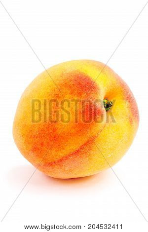 Isolated peach on a white background. Summer juicy fruit. Healthy food. Bright juicy colors.