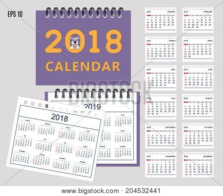 Set of kids american calendar for desk year 2018 with 12-month isolated pages with funny cartoon dog on cover. Isolated calendar year 2019. English language. Week starts on Sunday. eps 10