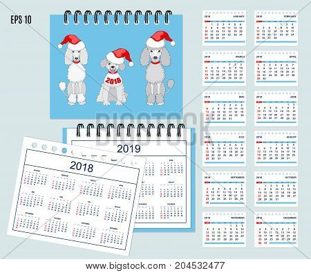 Set of kids american calendar for desk year 2018 with 12-month isolated pages with funny cartoon dogs on cover. Isolated calendar year 2019. English language. Week starts on Sunday. eps 10