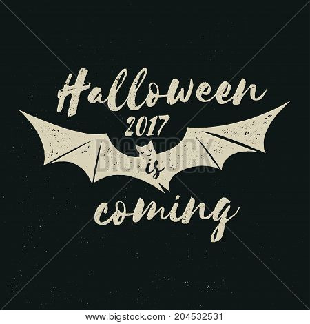 Halloween 2017 is coming. Vector Halloween retro badge. Concept for shirt or logo, print, stamp. Flying Bat. Halloween design. - stock vector.