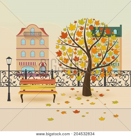 Autumn city park. Maple with falling leaves. Vector illustration.