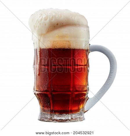 Mug of frosty dark red beer with foam isolated on a white background