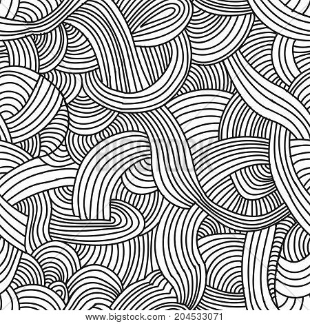 Abstract doodle monochrome seamless pattern background. Sketch line texture. Vector   illustration for adult coloring pages