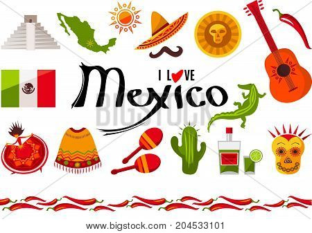 I love Mexico icon set. Sun, Moai pyramid, tequila, Mexico map, cactus, guitar, peyote, sombrero, moustache, poncho, dancing girl, coin, bean, chili, crocodile, maracas, flag. Vector illustration