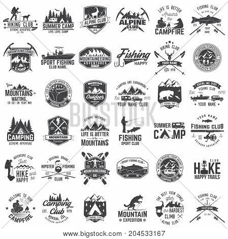 Summer camp, fishing, alpine and hiking club. Vector illustration. Set of vintage badges, labels, logos, silhouettes. Vintage typography collection with 36 items. Outdoors adventure emblems.