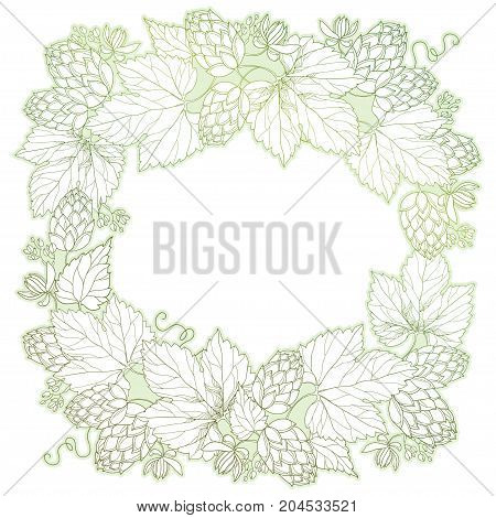 Vector frame with ornate Hops or Humulus. Cones and leaves in pastel isolated on white. Outline Hops for beer and brewery decor. Herbal elements in contour style for decoration and coloring book.