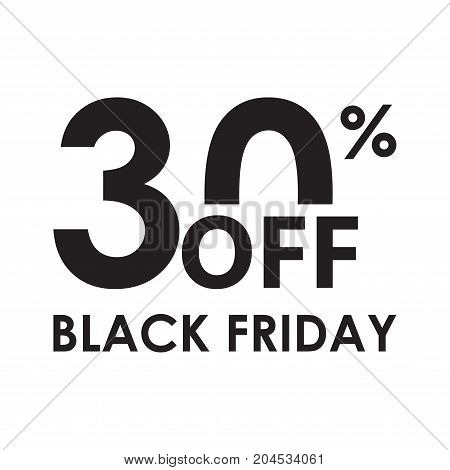 30% off. Black Friday design template isolated on white background. Sales discount price shopping and low price symbol. Vector illustration.
