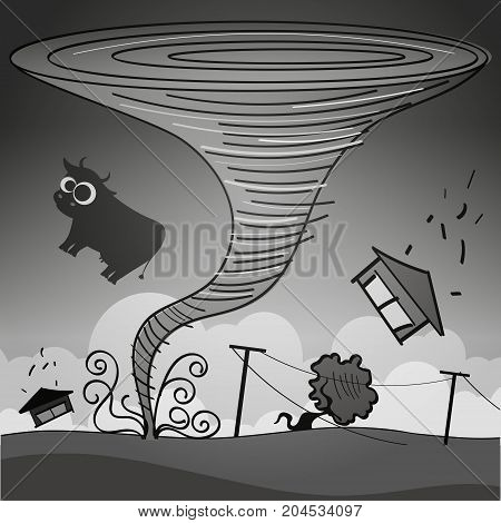 tornado storm hit the town. Vector illustration