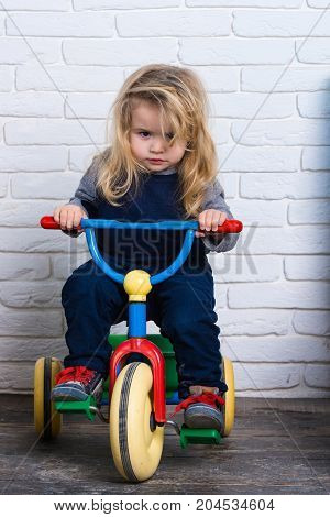 Child and tricycle. Playing and having fun. Baby cyclist with long blond hair on white brick wall. Happy childhood concept. Boy riding bicycle in room.