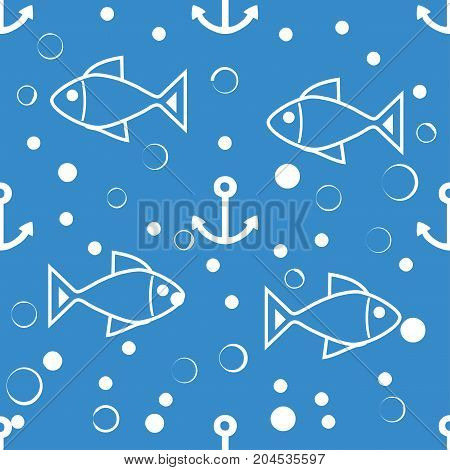 seamless symmetric pattern of white fish, anchors and small bubbles on a blue background. The pattern for the ornaments, albums, backgrounds.