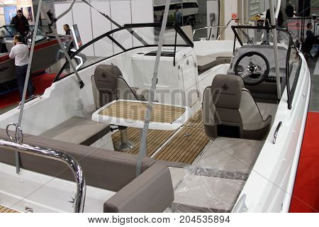 Moscow - March 09 2017: Boat Jeanneau Cap Camarat cockpit interior at the 10 International boat show in Moscow. Russia.