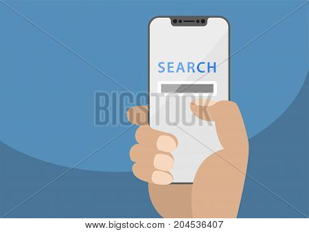 Search app displayed on frameless touchscreen. Vector illustration of hand holding modern bezel-free smartphone in front of blue background.
