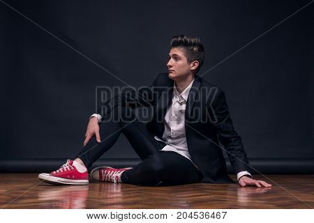 One Young Teenage Boy, Sitting Posing Model