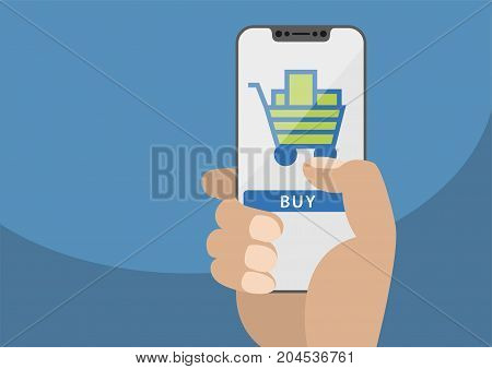 Mobile online shopping concept displayed on frameless touchscreen as vector illustration. Hand holding bezel free smartphone with icon of shopping cart