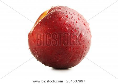 Nectarine Fruit With Water Drops Isolated On White Background