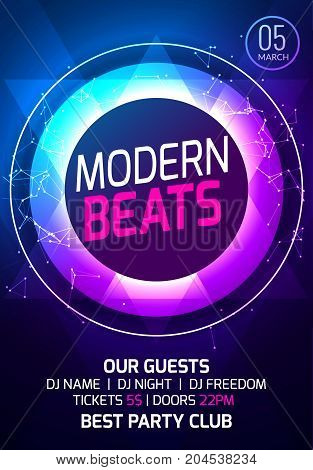Modern sound party music poster. Electronic club deep music. Musical event disco trance sound. Night party invitation. DJ flyer poster.