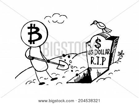 Doodle style Bitcoin bury the US dollar, funny cartoon.