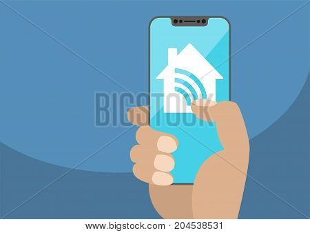 Smart home automation app with hand holding bezel-less smartphone. Vector illustration with wireless house icon on frameless touchscreen