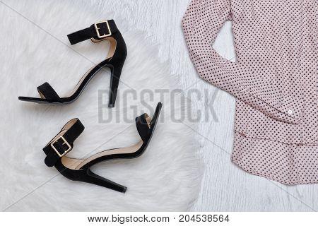 Black Shoes On White Fur, Part Of Blouse. Fashionable Concept