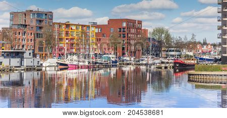 GRONINGEN, NETHERLANDS - APRIL 03, 2017: Panorama of the east harbor in Groningen Netherlands