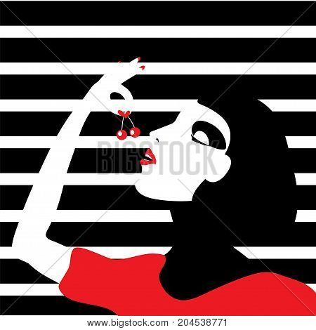 Woman eating cherry. Stock vector illustration in black white red minimalistic style.