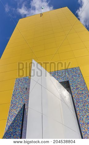 GRONINGEN, NETHERLANDS - APRIL 03, 2017: Yellow tower of the museum in Groningen Netherlands