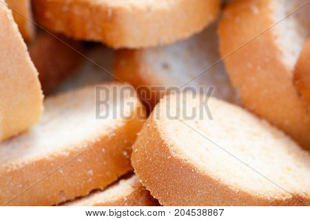 Many closeup round hard bread chucks crackers breakfast concept kitchen background healthy eating concept