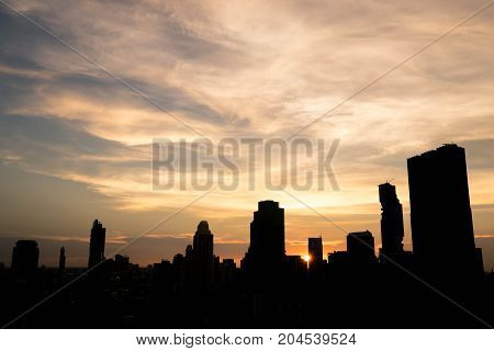 silhouette cityscape of Bangkok city at night landscape Thailand