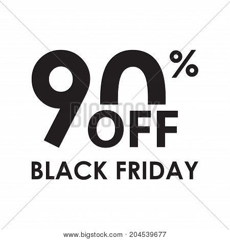 90% off. Black Friday design template isolated on white background. Sales discount price shopping and low price symbol. Vector illustration.