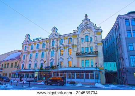 VIlnius, Lithuania - January 06, 2017: Radisson Blu Astorija Hotel on January 05, 2017 in Vilnius, Lithuania. Radisson Blu Hotels Resorts, part of the Rezidor Hotel Group, currently operates more than 230 hotels worldwide.