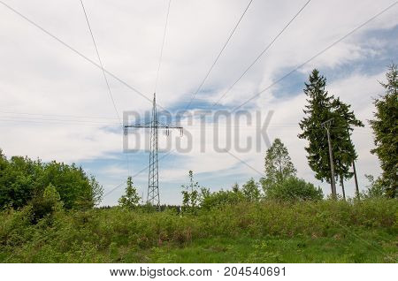 Power lines in Harz mountains in Germany